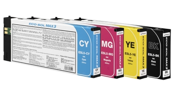 A row of Eco Sol ink cartridges