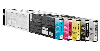 A row of ink cartridges