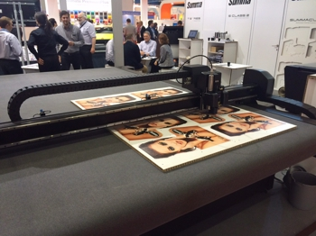 The Summa flatbed cutter being shown at FESPA
