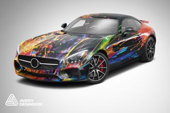 car wrapped in colourful design