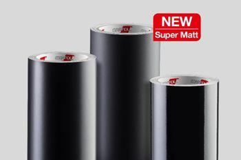 rolls of black super matt material