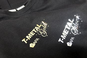 metal effect writing on a t-shirt