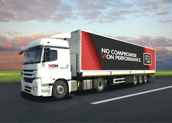 A truck with the slogan from VION on it.