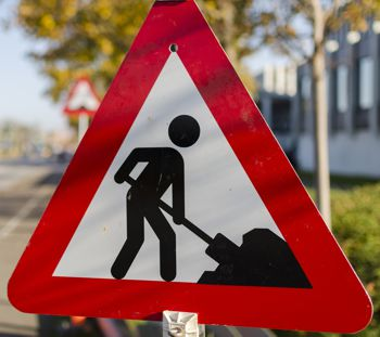 Antalis retroreflective films used on a roadworks road sign
