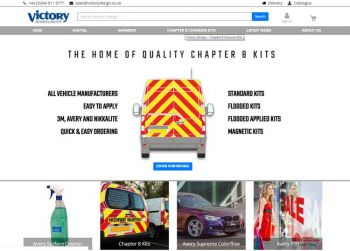 Victory design website with chevron kit option displayed on it