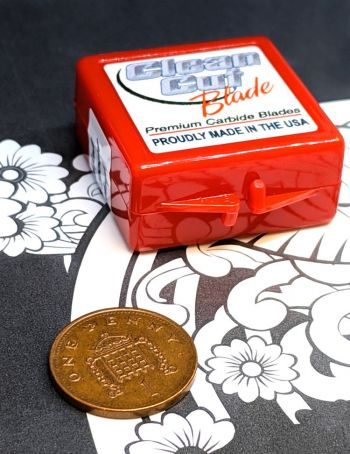 Red box with replacement vinyl cutting blades