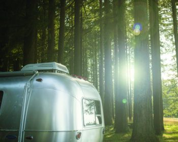 Camper in the woods with window film installation