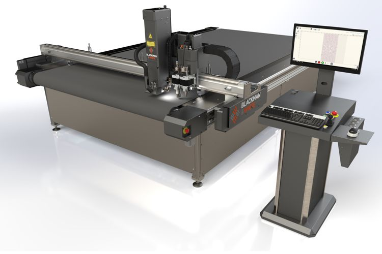 The Versa-Tech with a 3.2m x 3.2m cut area with laser, knife and router tooling.