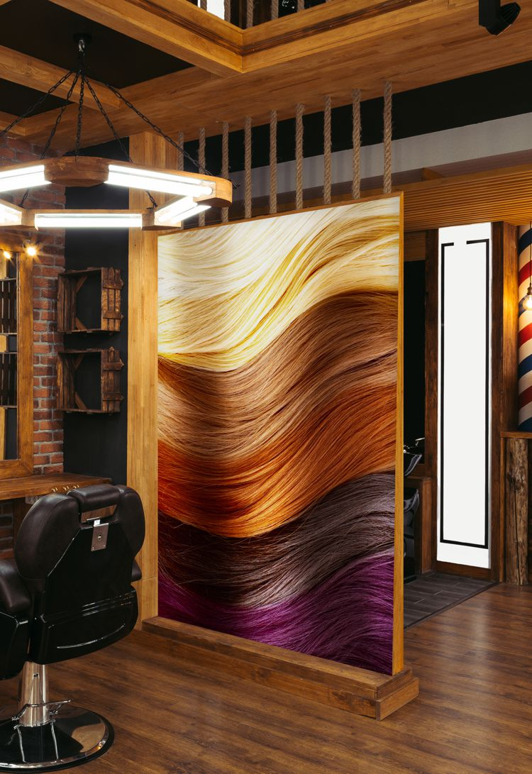 A partition in a hair dressers salon with Arlon DPF 4550 vinyl printed graphics
