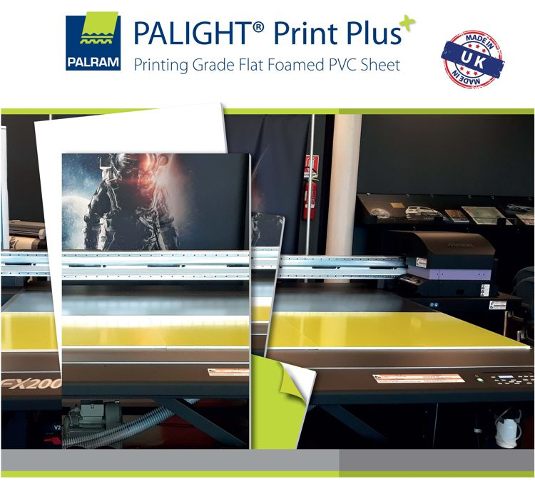 Example of Perspex Palight Print Plus foam PVC being printed on a Large Format printer