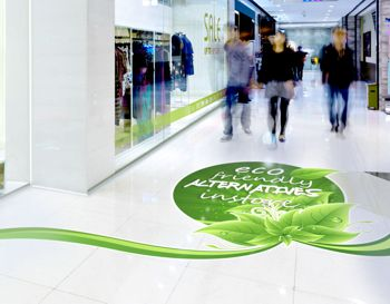 Drytac's PVC-free floor graphic in a shopping precinct.