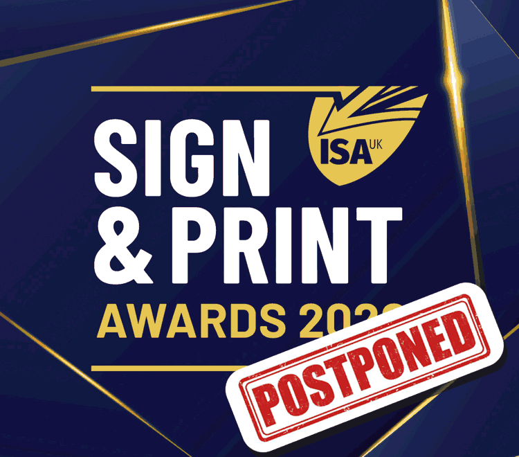 ISA Sign & Print Awards Logo with POSTPONED accross it.