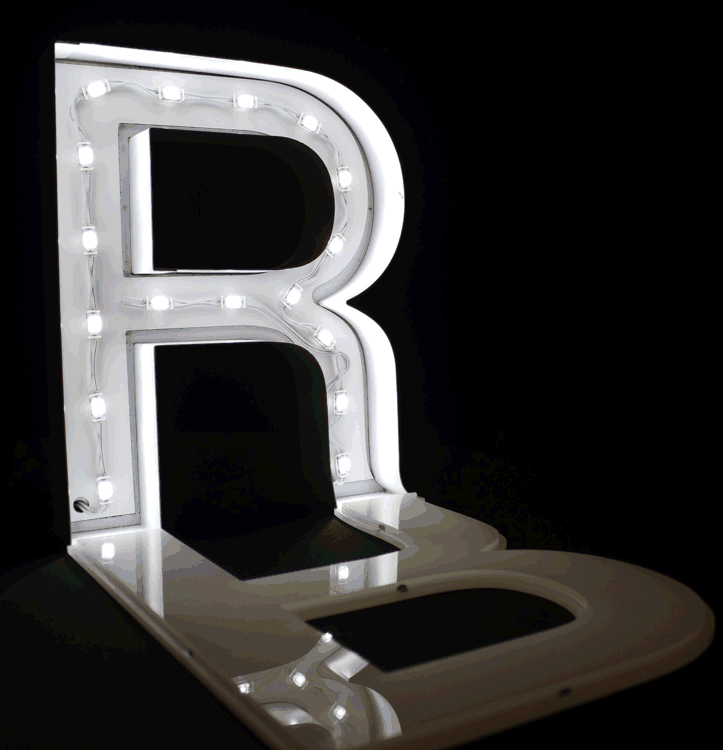Built up letter being lit internally with 24-volt Tetra® Atom LED modules.