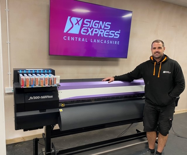 The Mimaki JV300 roll-to-roll printer at Sign Express Lancashire.