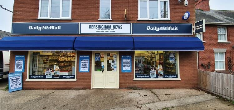 The front of a newsagent shop in Dersingham, where the signage has been recently updated by Signs Express