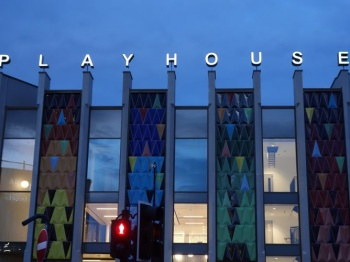Huge Built up letters on top of a building called the PlayHouse