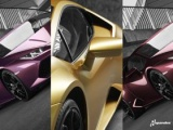 Spandex metallic vehicle wrap on a lambo being displayed