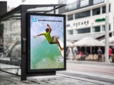 bus stop billboard mockup vinyl displayed