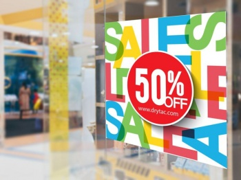 A window display using SpotOn White M50 window graphic media