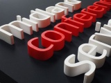 A 3D sign with built up letters made from polystyrene foam.