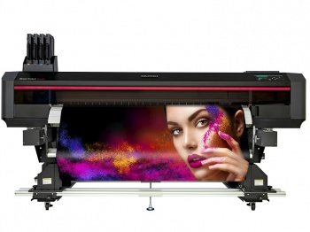 """Mutoh wide format digital printer with a heavy duty feed and take-up system designed for their XpertJet roll-to-roll 64"""" (162 cm) sign & display printers."""