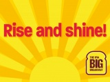 Promotional graphics saying 'Rise and Shine'.