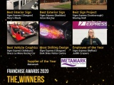 Promotional graphic showing the winners of the various categories of the Signs Express Sign Awards 2020