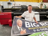 Gary Wallace of Wallace Print in front of the new Agfa Anapurna 3.2m wide format engine