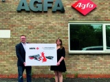 Bobby Grauf of Agfa and Melanie Fox of Kongsberg PCS at Agfa's new Inkjet Competence Centre in Rugby, Warwickshire
