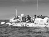 Rowing boat in the atlantice ocean