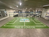 Floor graphic of a football pitch