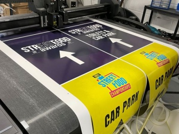 A Summa F1612 flatbed cutter installed in 2019 at Kent-based Ebbsfleet Printing Solutions